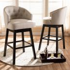Baxton Studio Theron 42 in. Light Beige and Espresso Bar Stool (Set of 2)