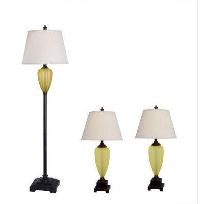 Amber Glass and Bronze Lamp Set (3-Piece)