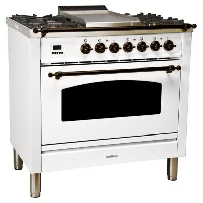 36 in. 3.55 cu. ft. Single Oven Italian Gas Range with True Convection, 5 Burners, Griddle, Bronze Trim in White
