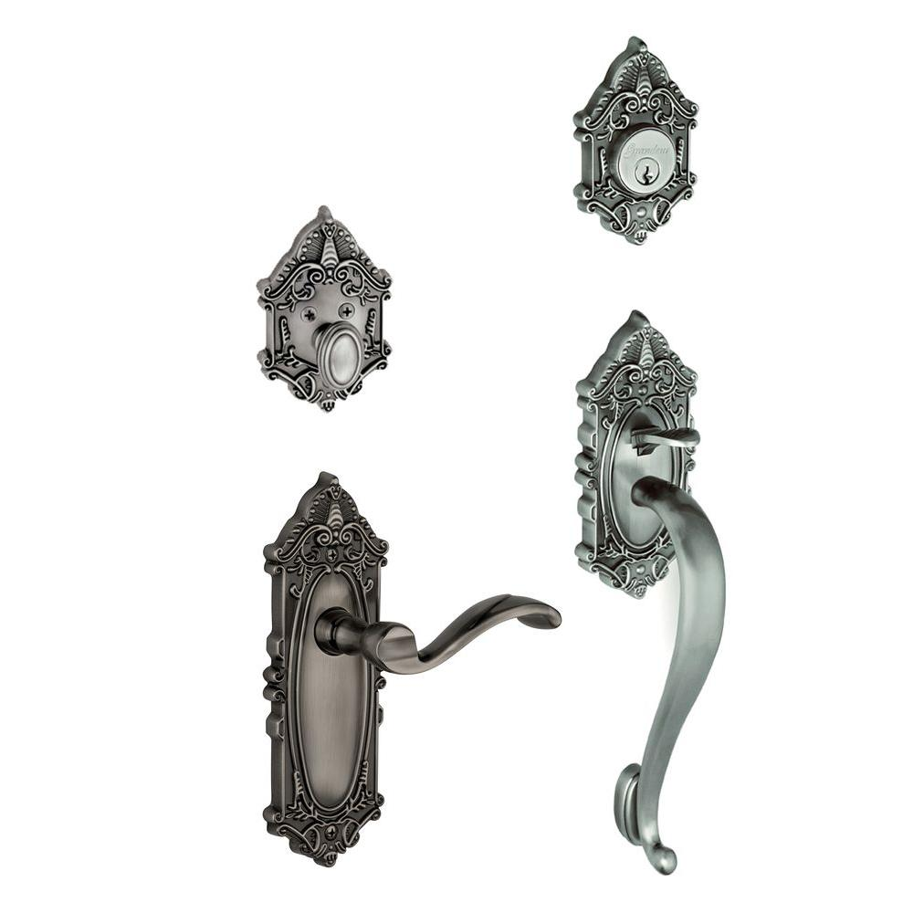 Grandeur Grande Victorian Single Cylinder Antique Pewter S-Grip Handleset with Left Handed Portofino Lever