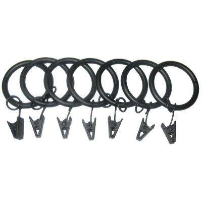 7 Pack 1-1/4 in. Matte Black Drapery Rings with Clips and Jump Rings
