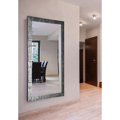Oversized Rectangle Silver/Black Accents Modern Mirror (62 in. H x 33 in. W)