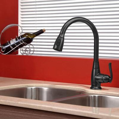 Single-Handle Stainless Steel High Arc Pull-Down Kitchen Faucet with Dual-Function Sprayer in Oil Rubbed Bronze