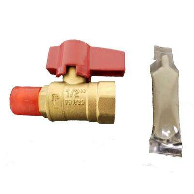 1/2 in. NPT x 3/8 in. Flare Brass Ball Valve with Sealant