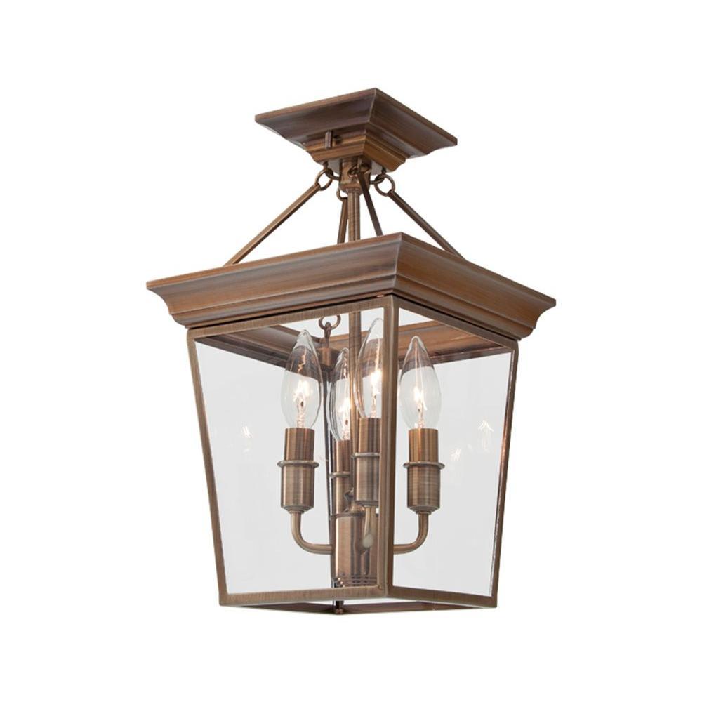 Filament Design Celestial 4-Light Antique Brass Incandescent Semi Flush Mount