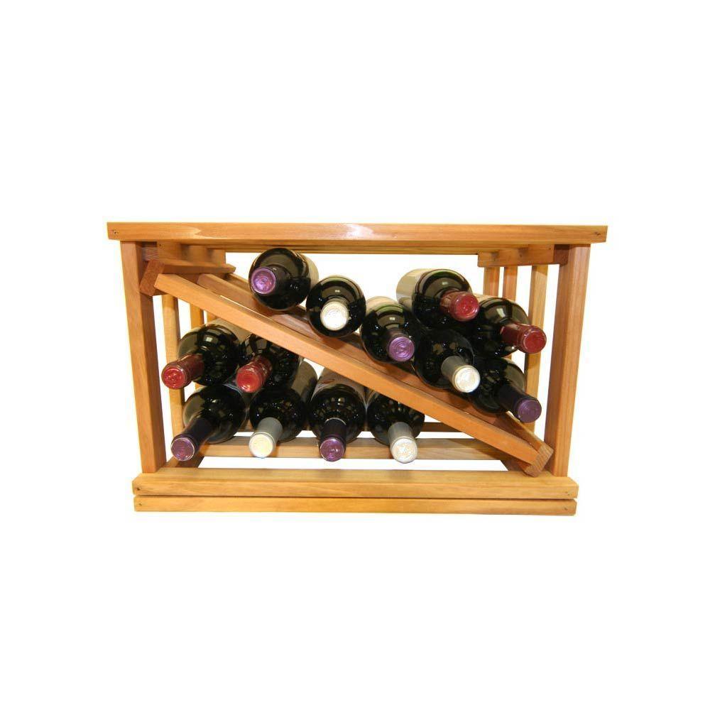 Mini Stack Series-Bin Storage Light Stain Wine Rack 11-15/16 in. H x 18-11/16 in. W x 13-1/2 in. D