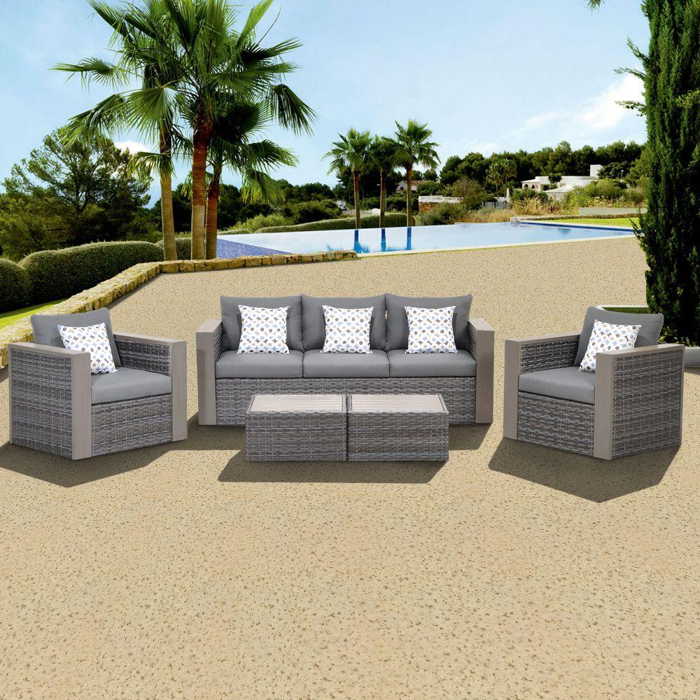 Atlantic Contemporary Lifestyle Mustang 5-Piece All-Weather Wicker Patio Conversation Set with Grey Color Cushions