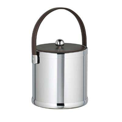 Americano 3 Qt. Polished Chrome Ice Bucket with Brown Leatherette Lid and Handle