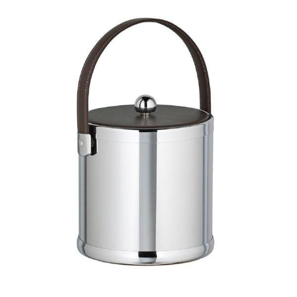 Kraftware Americano 3 Qt. Polished Chrome Ice Bucket with Brown Leatherette