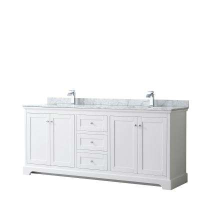 Avery 80 in. W x 22 in. D Bathroom Vanity in White with Marble Vanity Top in White Carrara with White Basins