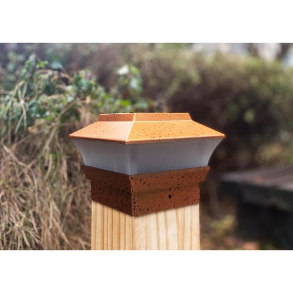 Relightable Solar Powered 4 in. x 4 in. Copper Outdoor Cap Deck LED Lights For Wood posts (4-Pack)