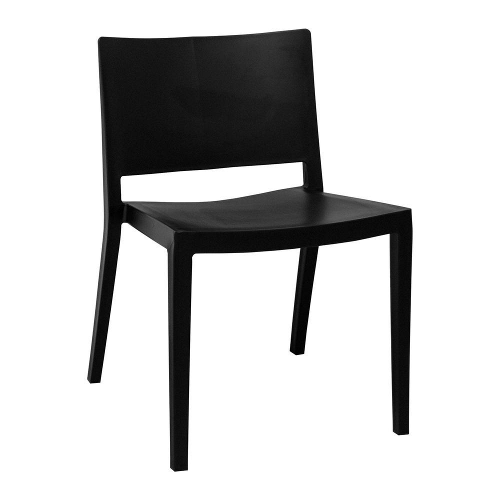 Elio Modern Black Plastic Dining Side Chair (Set of 2)