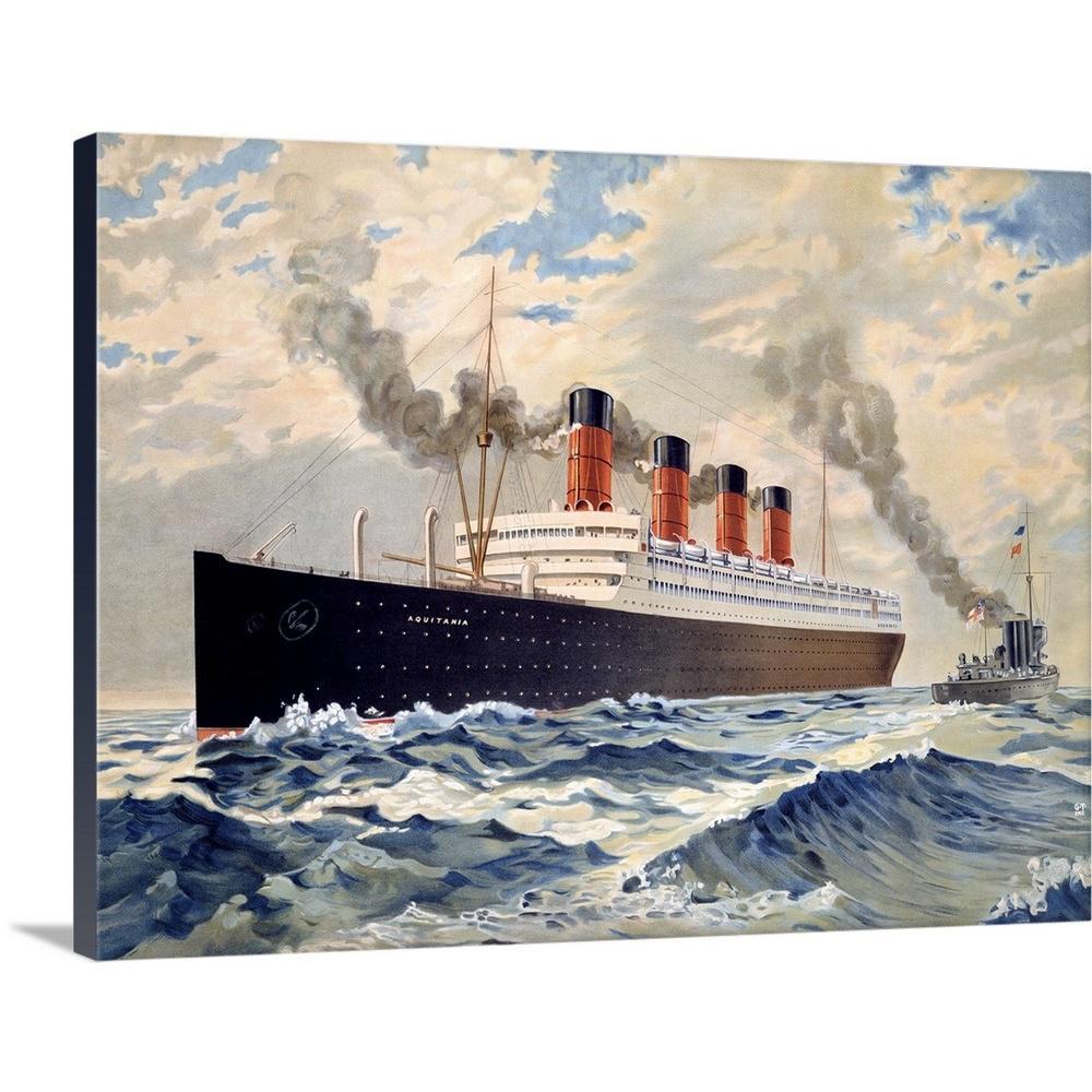 Cunard Auqatania Oceanline Aquitania Vintage Advertising Poster by ArteHouse Canvas Wall Art