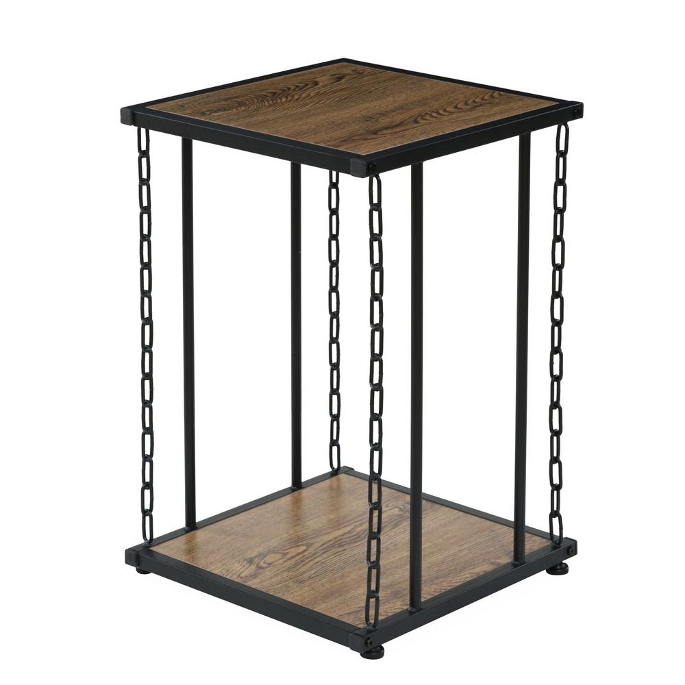 OneSpace Folsom Ridge End Table, With Wood And Black Chain Link Metal