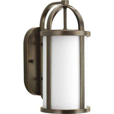 Greetings Collection 1-Light 16.75 in. Outdoor Antique Bronze Wall Lantern Sconce