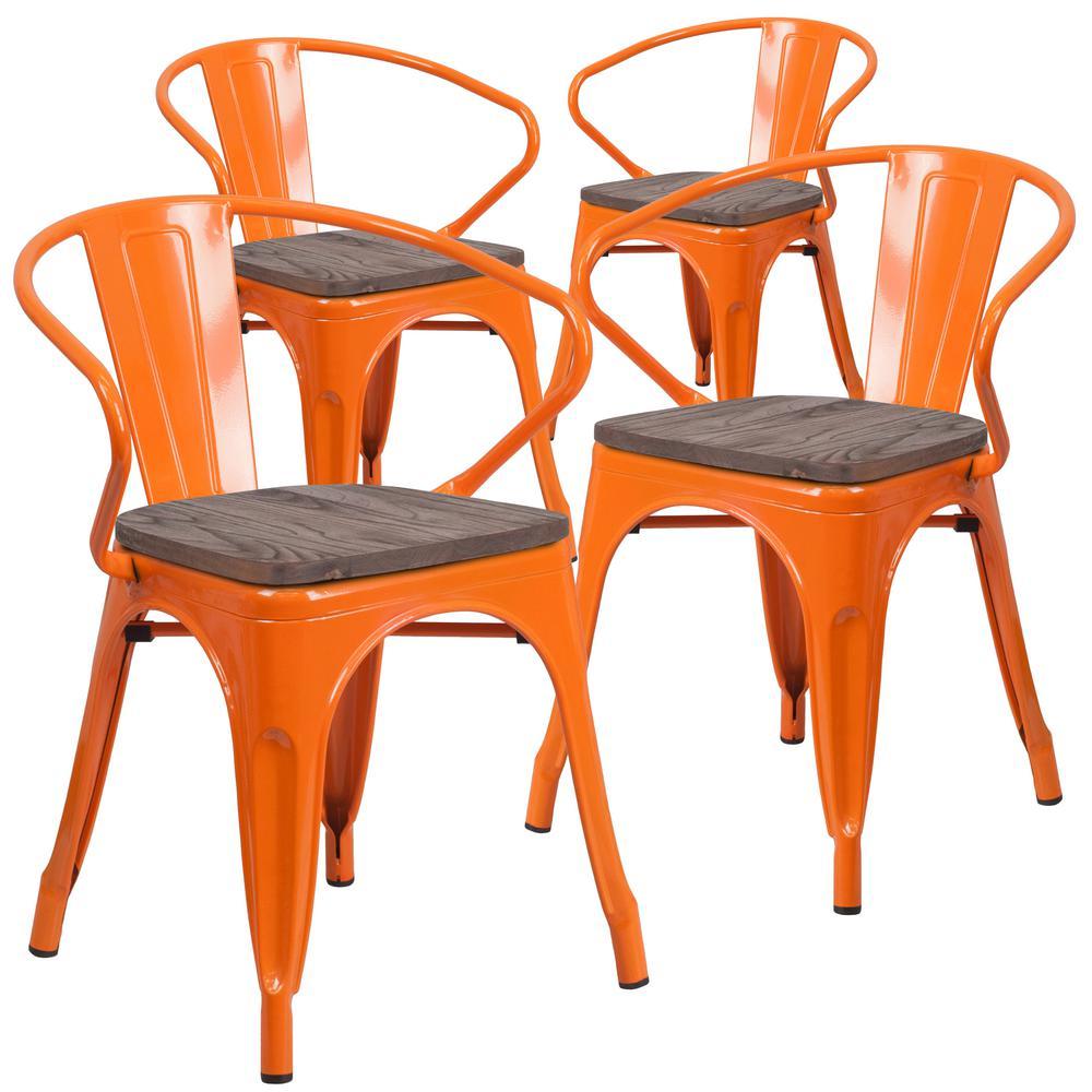 Orange Restaurant Chairs (Set of 4)