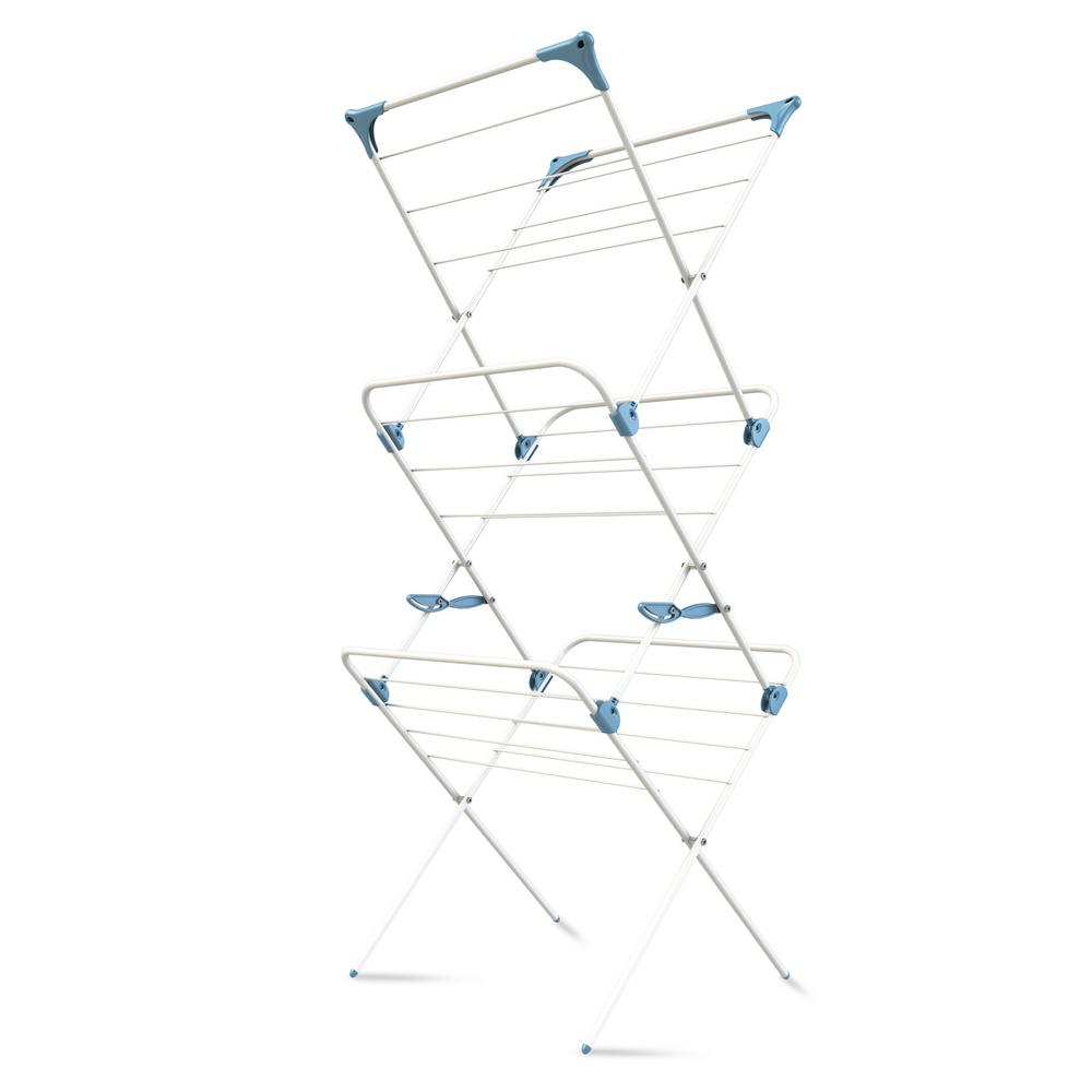 23 in. W x 55 in. H White 3-Tier Indoor Drying