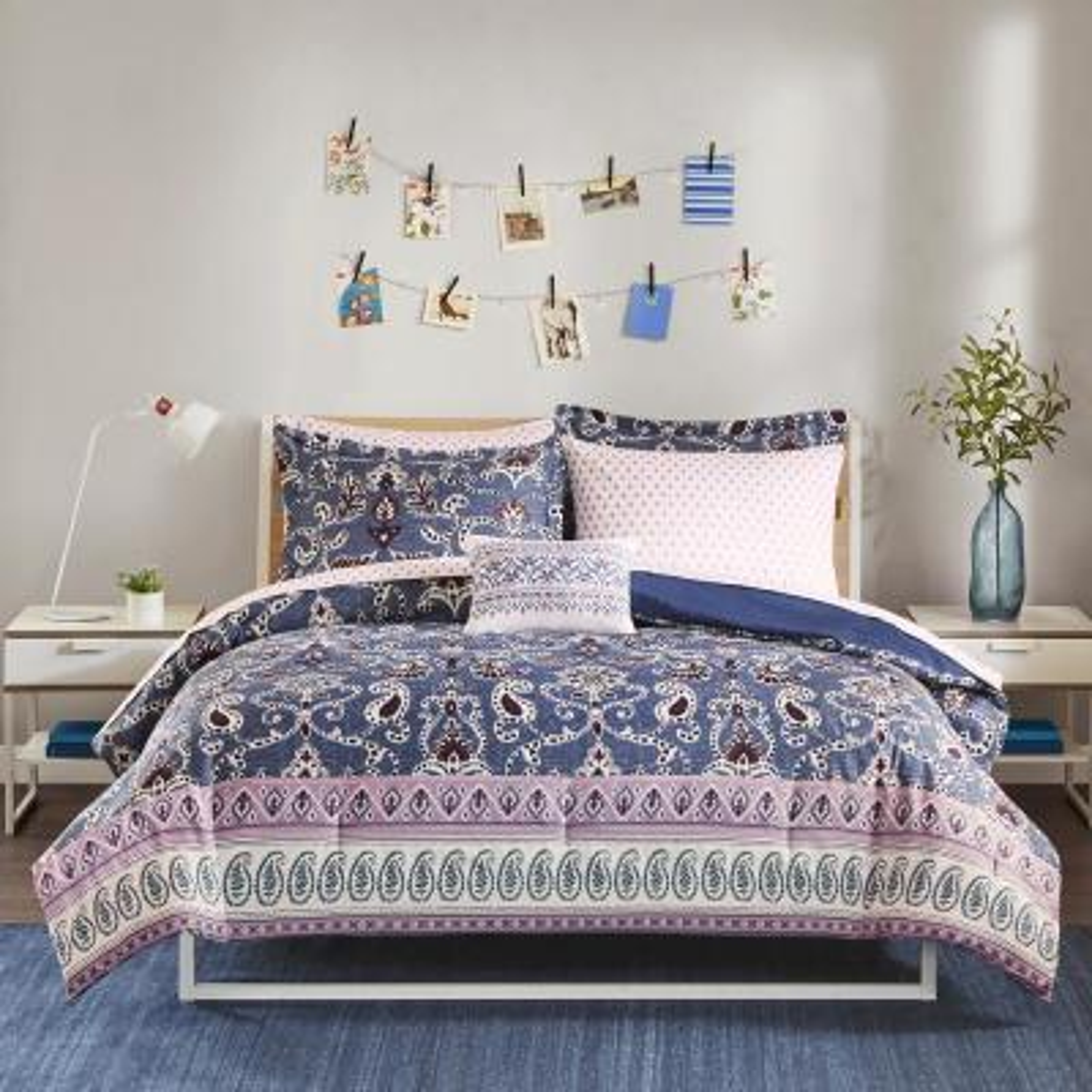 Addison 8-Piece Purple Queen Global Comforter Set