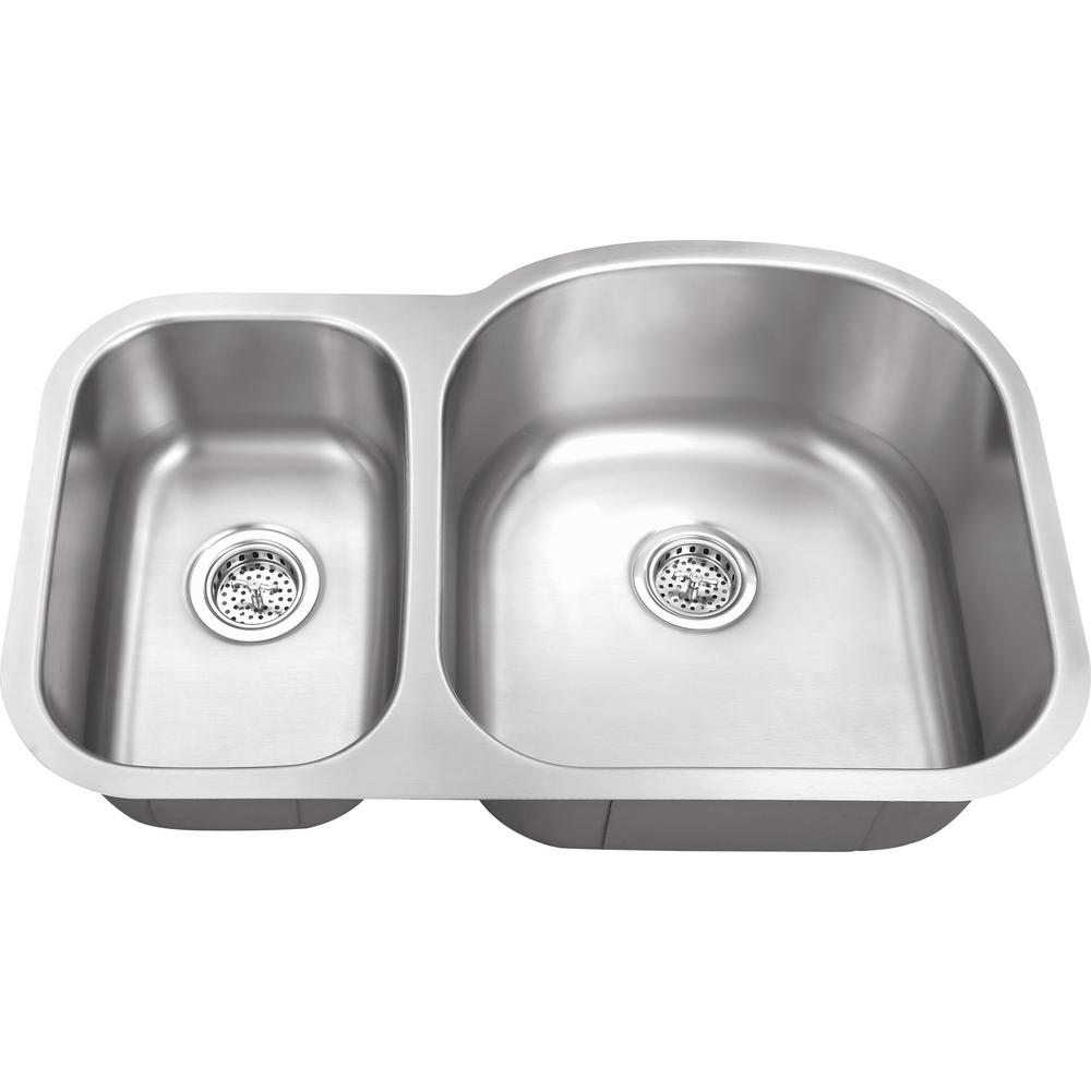 IPT Sink Company Undermount 32 in. 18-Gauge Stainless Steel Double ...