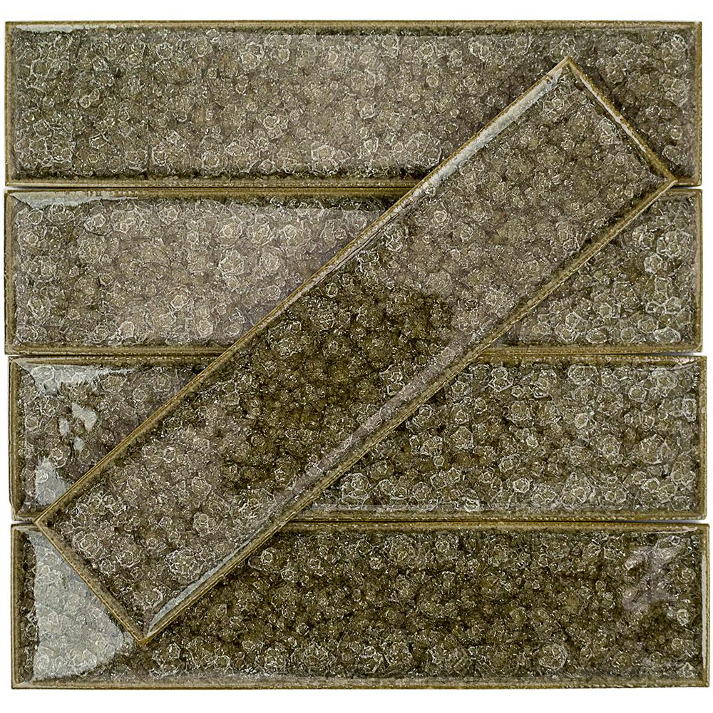 Ivy Hill Tile Roman Selection Iced Gold 2 in. x 8 in. x 9 mm Polished Glass Mosaic Wall Tile (36 pieces 4 sq.ft./Box)