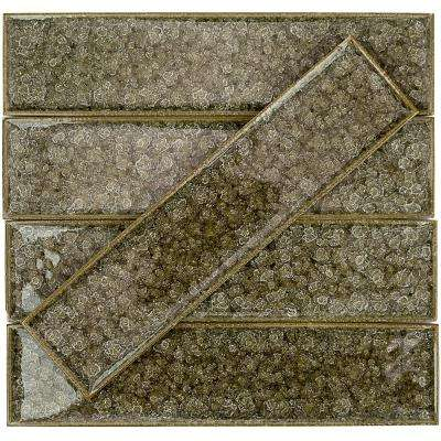 Roman Selection Iced Gold 2 in. x 8 in. x 9 mm Glass Mosaic Tile