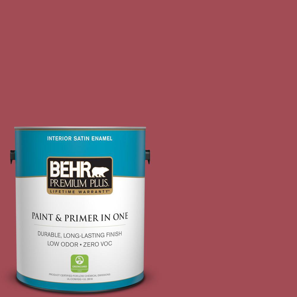 1 gal. #HDC-FL15-02 Cranberry Jam Zero VOC Satin Enamel Interior Paint