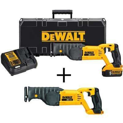 20-Volt MAX Lithium Ion Cordless Reciprocating Saw Kit with Bonus 20-Volt MAX Cordless Reciprocating Saw (Tool-Only)
