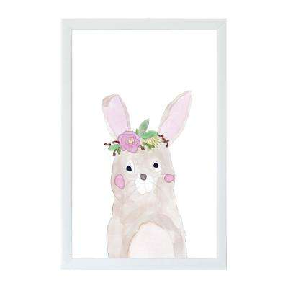 Watercolor Flower Bunny, WHITE FRAME, Magnetic Memo Board