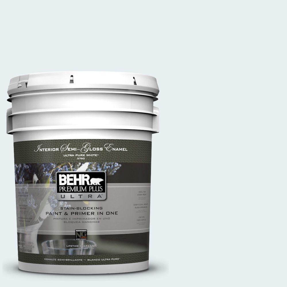 5-gal. #730E-1 Polar White Semi-Gloss Enamel Interior Paint