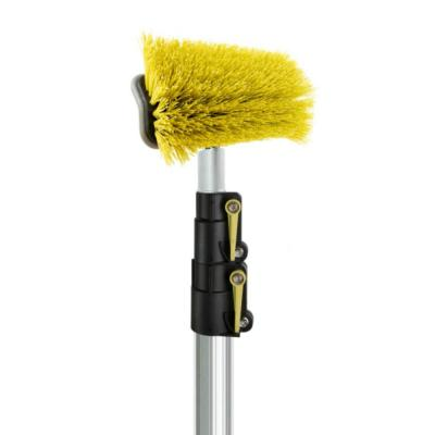 Hard Bristle Deck Brush + 5 ft. to 12 ft. Extension Pole 11 in. Scrub Brush with Telescopic Pole