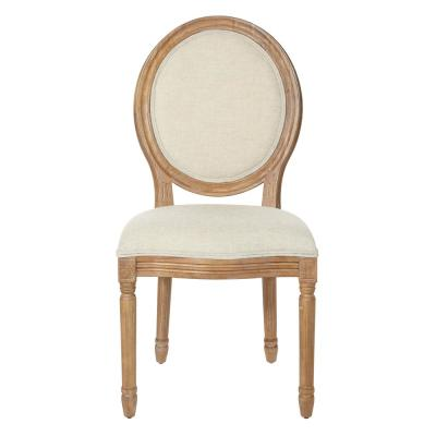 Trinity Oval Back Chair in Linen Fabric with Brushed Frame