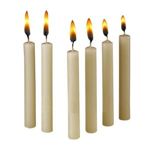 Click here to buy Light In The Dark 4 inch x 1/2 inch Thick Ivory Taper Candles (Set of 60) by Light In The Dark.