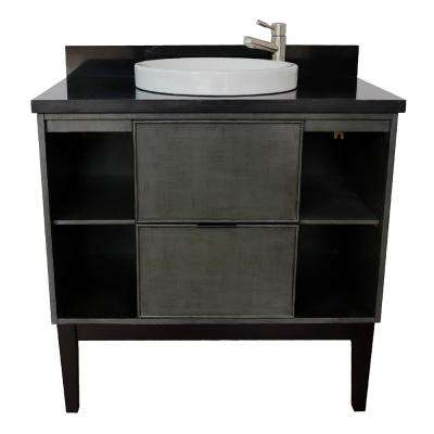 Scandi III 37 in. W x 22 in. D Bath Vanity in Gray with Granite Vanity Top in Black with White Round Basin