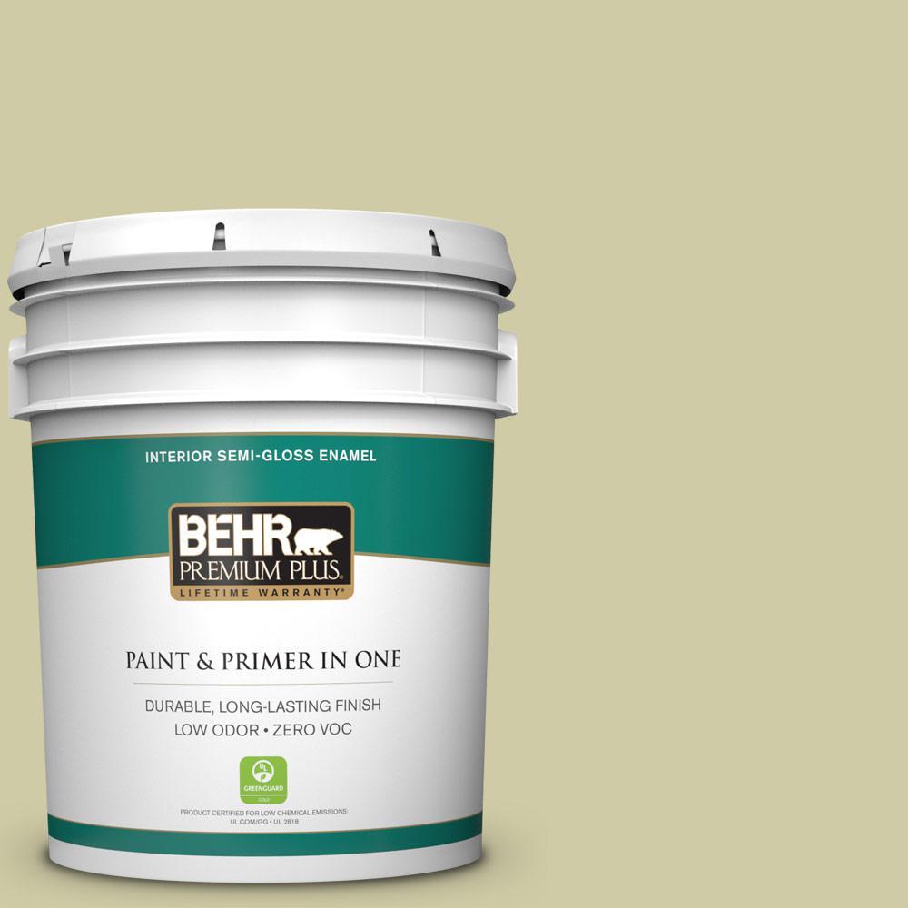 BEHR Premium Plus 5-gal. #ICC-58 Crisp Celery Zero VOC Semi-Gloss Enamel Interior Paint