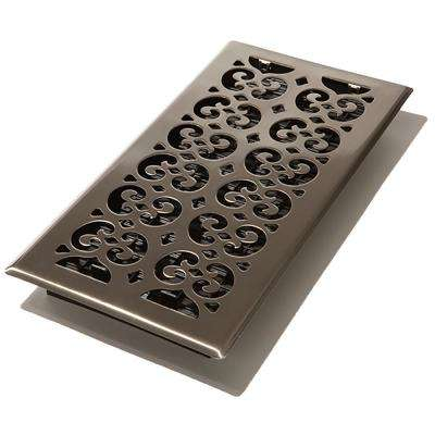 6 in. x 14 in. Scroll Nickel Floor Register