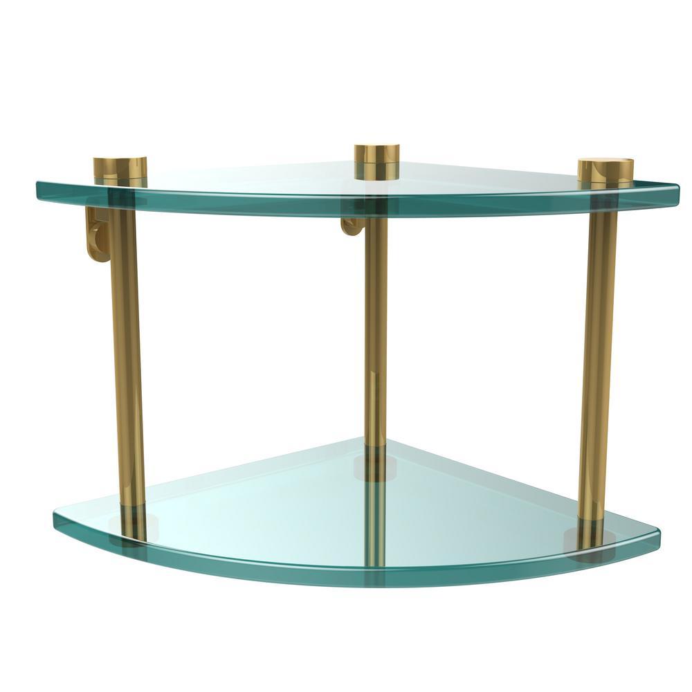 Allied Brass 8 in. L x 8 in. H x 8 in. W 2-Tier Corner Clear Glass ...