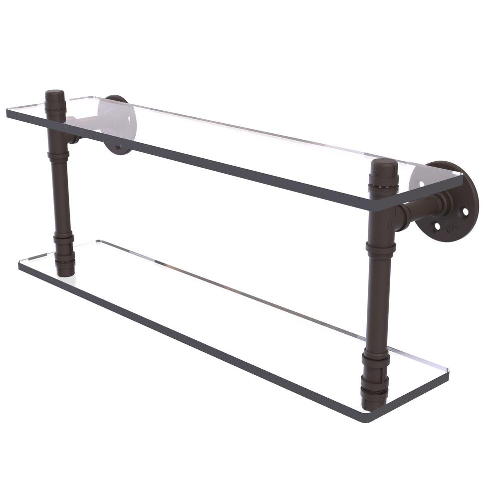 Allied Brass Pipeline Collection 22 in. Double Glass Shelf in Oil ...