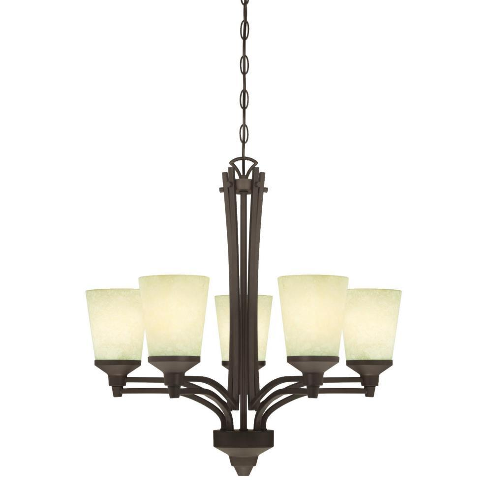 Westinghouse Malvern 5-Light Oil Rubbed Bronze Chandelier with Smoldering Scavo Glass Shades
