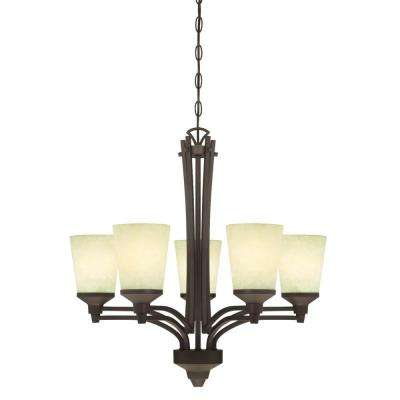 Malvern 5-Light Oil Rubbed Bronze Chandelier with Smoldering Scavo Glass Shades