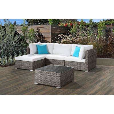 FRESCO 5-Piece All-Weather Beige Wicker Patio Sectional Set with Off-White Cushions