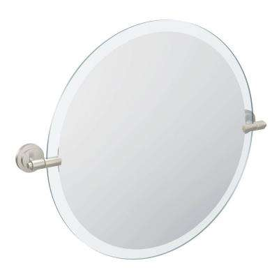 Iso 22 in. x 24 in. Frameless Wall Mirror in Brushed Nickel