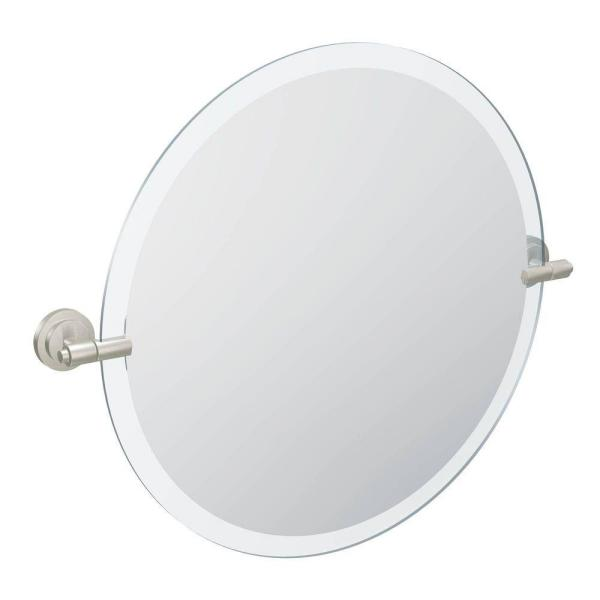 Iso 22 in. x 24 in. Frameless Pivoting Wall Mirror in Brushed Nickel