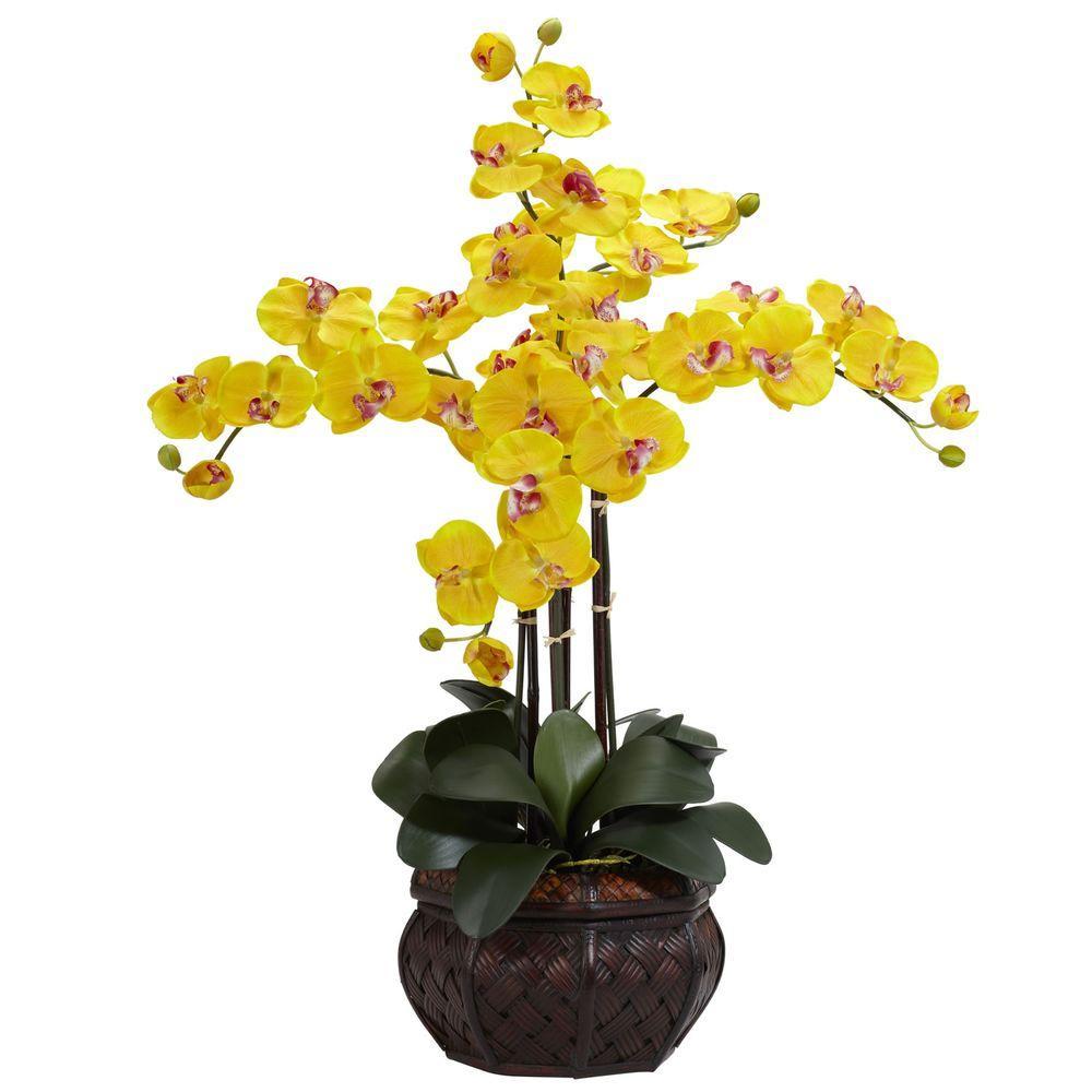 31 in. H Yellow Phalaenopsis with Decorative Vase Silk Flower Arrangement