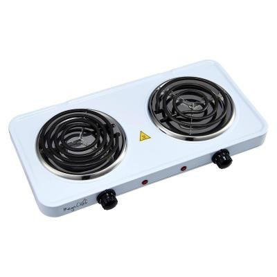 Portable 2-Burner 5.5 in. White Hot Plate with Temperature Control