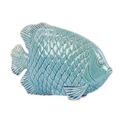 7 in. H Fish Decorative Figurine in Blue Gloss Finish