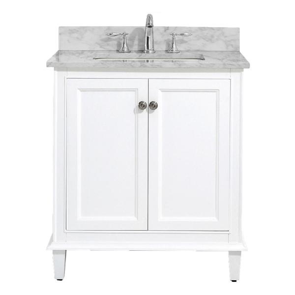 Riverpine 31 in. W x 22 in. D Vanity in White with Marble Vanity Top in Carrara with White Sink