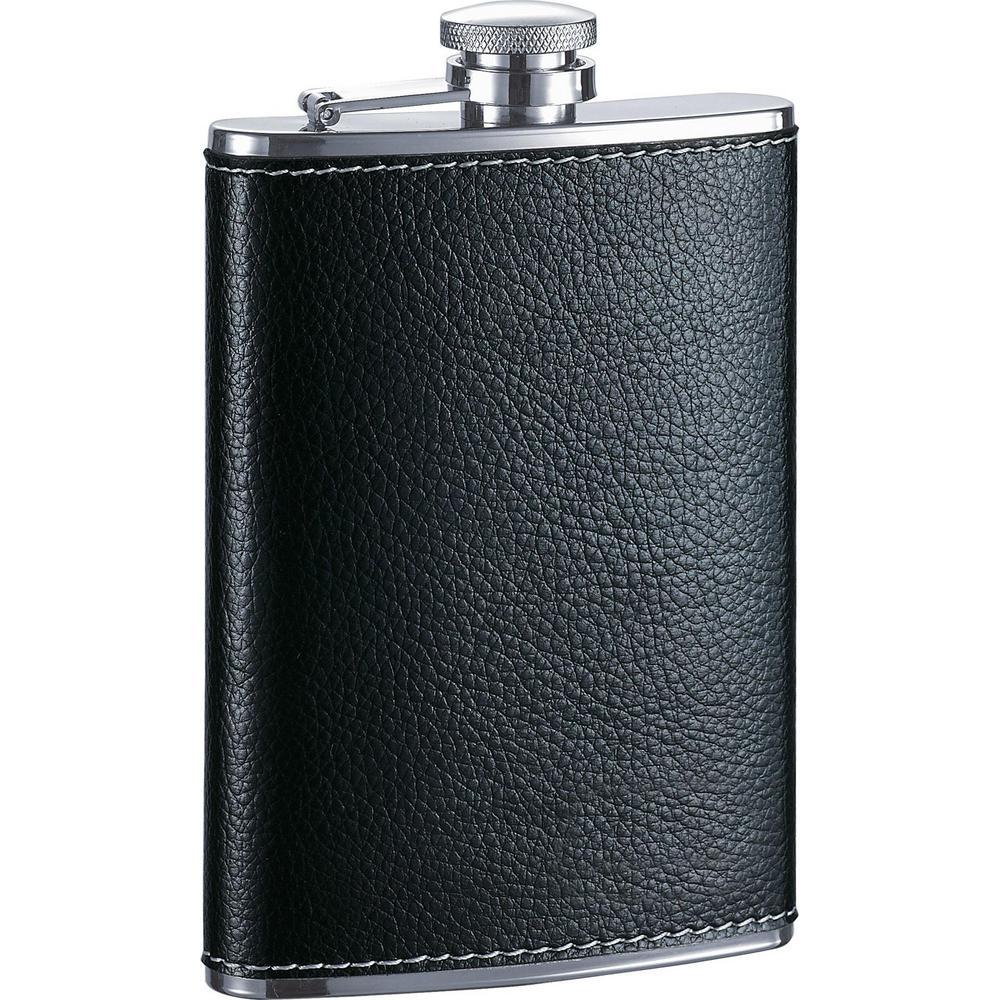 Max Black Leather Liquor Flask