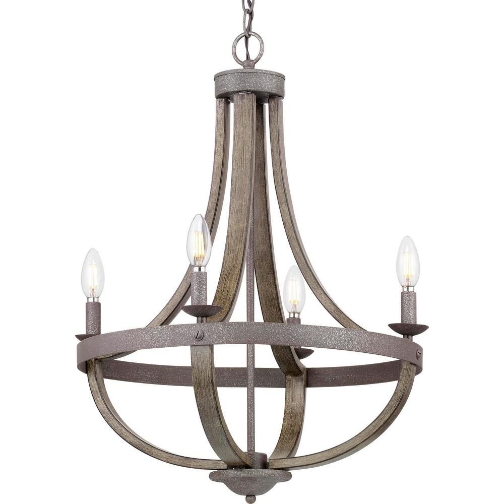 Progress Lighting Keowee 4 Light Iron Chandelier With Distressed Elm Wood Accents