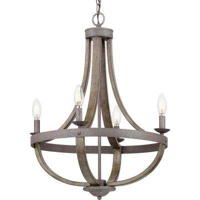 Keowee 4-Light Artisan Iron Chandelier with Distressed Elm Wood Accents