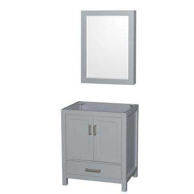 Sheffield 30 in. Vanity Cabinet with Medicine Cabinet Mirror in Gray